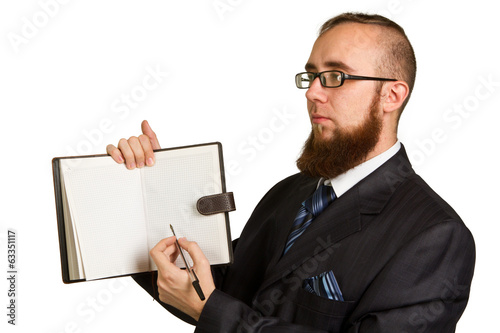 Businessman holding a pen requesting a signature