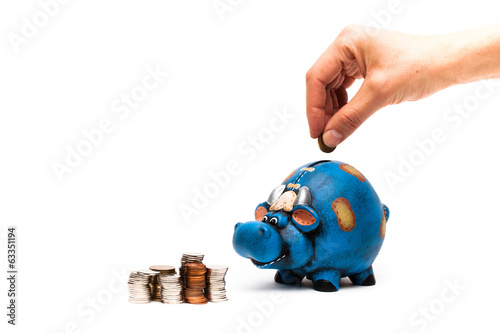 cow piggy bank with coins hand closeup