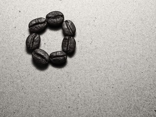 Roasted Coffee Beans on paper texture
