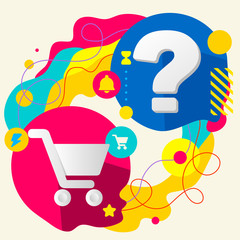 Shopping trolley and question mark on abstract colorful splashes