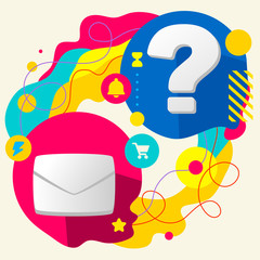Envelope and question mark on abstract colorful splashes backgro