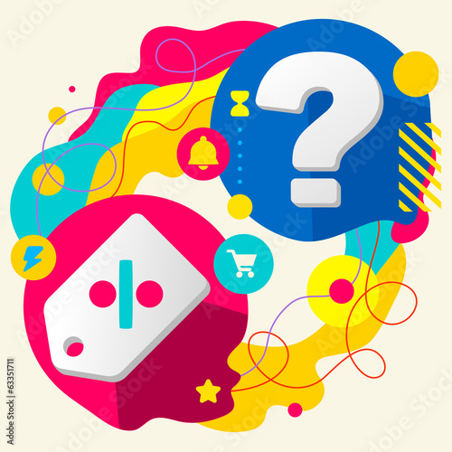 Label and question mark on abstract colorful splashes background
