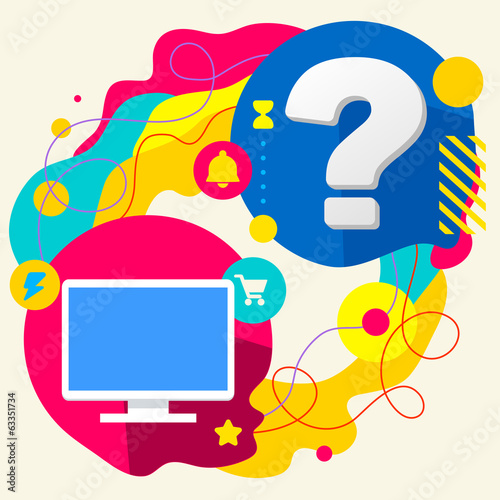 Monitor screen and question mark on abstract colorful splashes b
