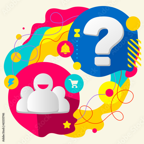People team and question mark on abstract colorful splashes back