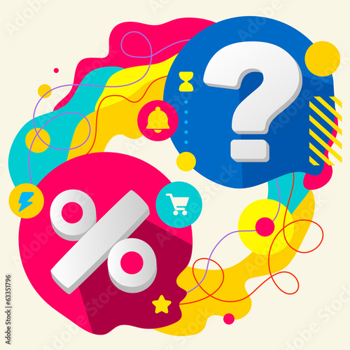 Percent and question mark on abstract colorful splashes backgrou