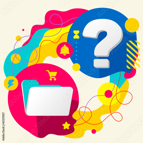 Folder and question mark on abstract colorful splashes backgroun