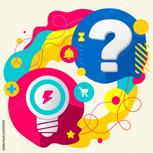 Light bulb and question mark on abstract colorful splashes backg
