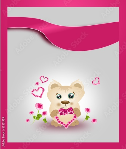 Card with cute bear with rose heart