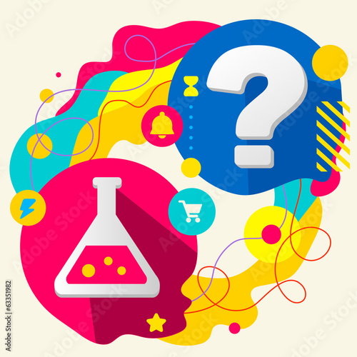 Laboratory flask and question mark on abstract colorful splashes