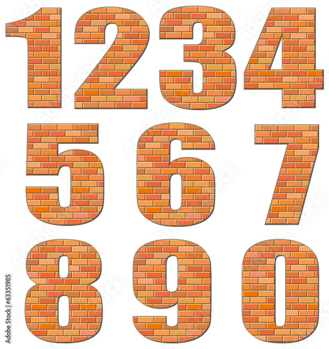 Vector numerals build out of red bricks