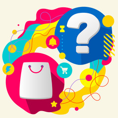 Shopping bag and question mark on abstract colorful splashes bac