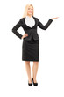 Businesswoman gesturing with hand
