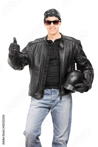 Biker giving thumb up