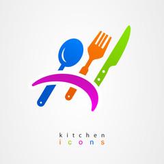 Kitchenware icon fork knife spoon menu sign