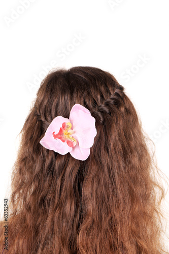 Long Brown Hair Braid with flower.