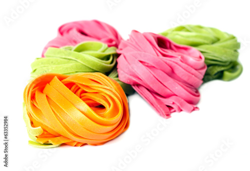 Freshly made raw colorful pasta