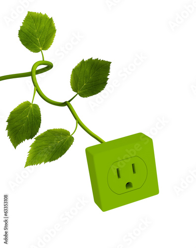 canvas print picture Power Outlet with Green Stem II