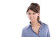 Gesicht einer schönen jungen Business Frau isoliert auf Weiß