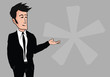 Cartoon business man black suit gray blank background