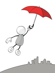 little sketchy man flying with an red umbrella