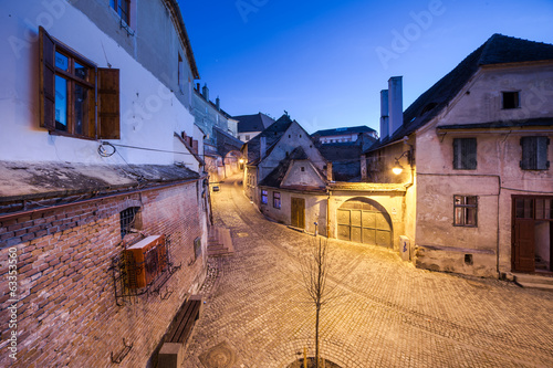 Sibiu,Romania. Old street of residential buildings