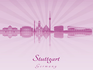 Stuttgart skyline in purple radiant orchid