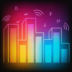 Music neon city with equalizer skyscrapers