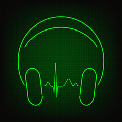Music heartbeat. Cardiogram line in headphones in neon style