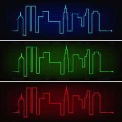 Cardiogram line forming city skyscrapers, three neon colors