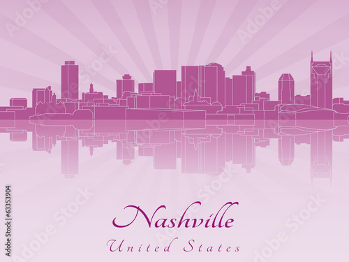 Nashville skyline in purple radiant orchid