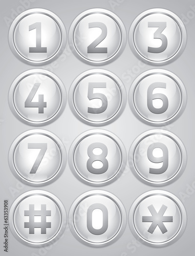 White reflection glossy buttons with numbers, vector buttons set