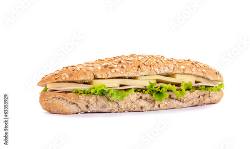 Long sandwich - baguette with cheese