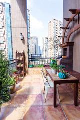 stylish balcony with plants