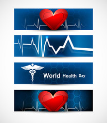 Beautiful world health day four headers set medical symbol color