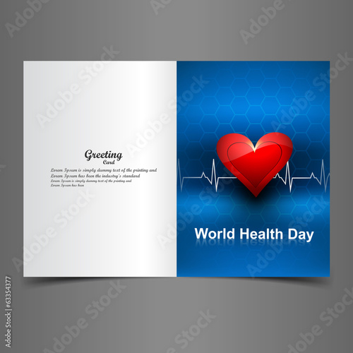 Beautiful greeting card colorful heart beats World health day ve