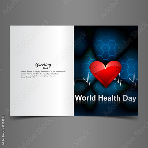World health day for greeting card heartbeat background colorful