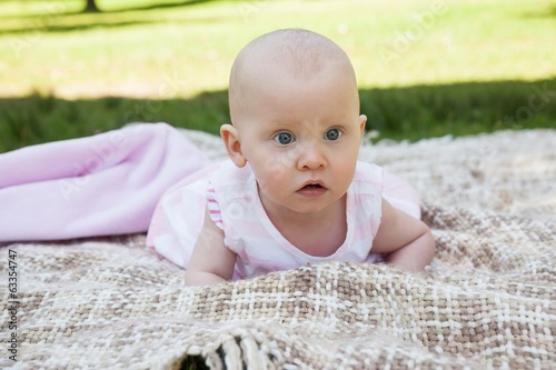 Cute baby lying on blanket at park