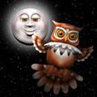 Owl and Moon Cartoon 3d