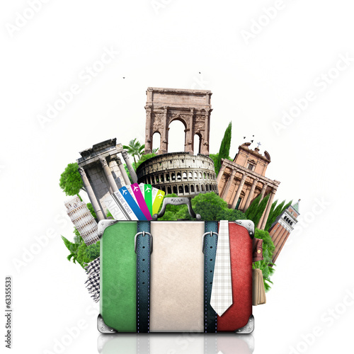 Foto op Aluminium Oude gebouw Italy, attractions Italy and retro suitcase, travel
