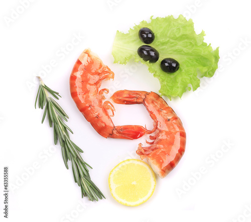 Two shrimp with lemon and rosemary.