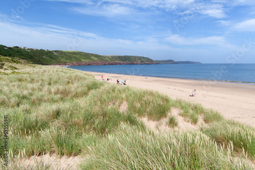 Sandy dunes behind Freshwater East beach