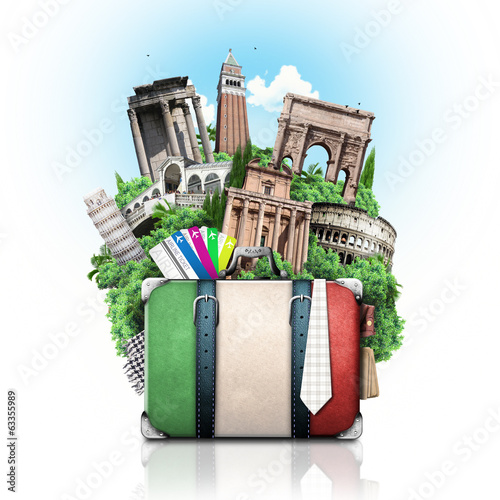 Tuinposter Venice Italy, attractions Italy and retro suitcase, travel