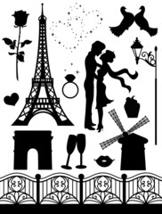Set of silhouettes on a romantic theme.