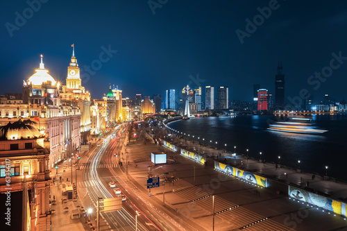 beautiful night at the bund in shanghai