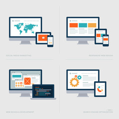 Flat design concept icons for marketing, web design and SEO