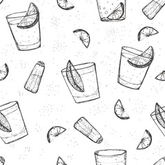 Seamless alcohol drinks vector pattern. Sketched tequila with
