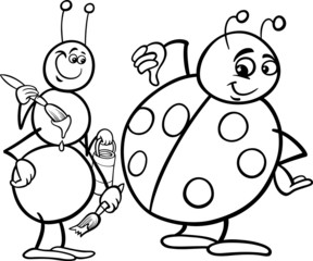 ant and ladybug coloring page