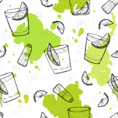Colored seamless vector pattern of tequila shots with splashes o