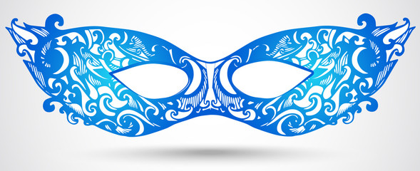 Blue carnival mask illustration. Vector design element for