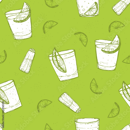 Seamless short drinks vector pattern. Sketched tequila with lime